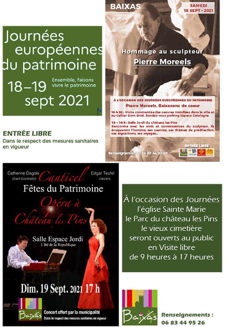 Le programme des Journées Européennes du Patrimoine, à Baixas